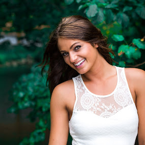Smiling Bright by Kyle Re - People Portraits of Women ( expression, model, happiness, sunlight, expressive, contrast, nature, gorgeous, happy, outdoor, lovely, smile, natural, stunning, smiling )