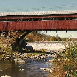 Covered bridge in vt by Stephen Deckk - Landscapes Waterscapes