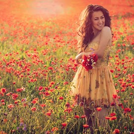 by Boris Dimitrov - People Portraits of Women ( red, girl, summer, poppy, flowers, sun )
