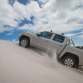 Higher and higher.....up we go. by Lanie Badenhorst - Sports & Fitness Motorsports ( #playingwithamarok, #inthedunes, #4x4 )