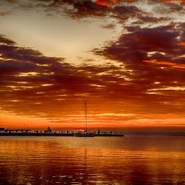 Orange sunset colors by Viorel Stanciu - Landscapes Sunsets & Sunrises ( water, adriatic, waterscape, sunset, sea, people )