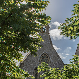 St Lukes Campus - Exeter by Wendy Richards - Buildings & Architecture Places of Worship ( bell, blue sky, church, trees, leaves )