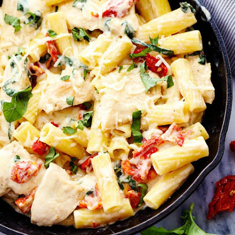 Mozzarella Chicken Pasta with Sun Dried Tomatoes