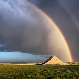 Springtime on the Plains by Ken Smith - Landscapes Travel ( toadstool geologic park, ogala national grassland, landscape, nebraska, rainbow )