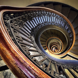 Rabbit Hole  by Wes Calimer - Buildings & Architecture Other Interior ( spiral staircase chess hall )