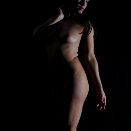 by DJ Cockburn - Nudes & Boudoir Artistic Nude ( dark hair, woman, art nude, walking, home shoot, caucasian, brunette )