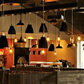 Lights by Leah Zisserson - Buildings & Architecture Other Interior ( lights, orange, pendants, virginia, restaurant, lodge )