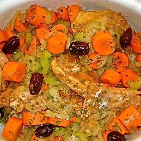 Greek Chicken With Olives, Carrots, Lemon and Celery