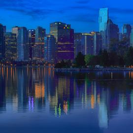 Vancouver Sunrise Triptych II by Briand Sanderson - City,  Street & Park  Skylines ( skyline, pano, canada, sunrise, triptych, bc, vancouver, british columbia )