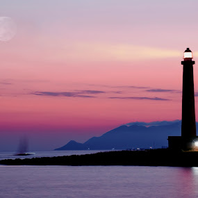 Lighthouse favignana by Vincenzo Bernardi - Landscapes Waterscapes ( holiday, moon, stars, ship, silhouette, outdoor, lighthouse, night, lifestyles, boat, landscape, light,  )