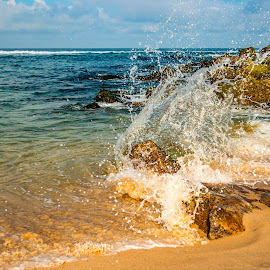 Splash by Carlos Costa - Landscapes Beaches ( sky, sand, aveiro, rocks, beach, portugal, weather, water, splash, sea )