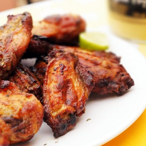 Honey, Mustard Chicken Wings with Dijon/Lime Dipping Sauce