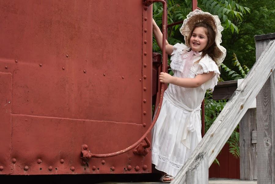 On the Train  by Lorraine D.  Heaney - Babies & Children Child Portraits