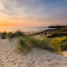 Cornwall Sunset by John Haswell - Landscapes Sunsets & Sunrises ( sand, sunset, sea, beach, cornwall,  )
