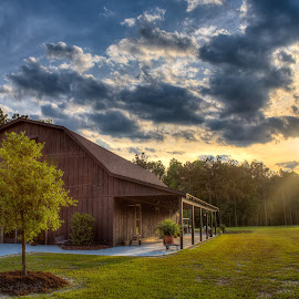 The Barn at Rock Creek by Dale Foshe - Buildings & Architecture Other Exteriors ( field, sky, barn, sunset, trees, forest )