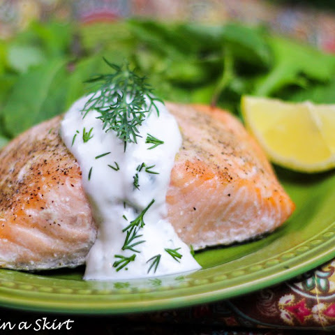 Lemon Salmon with Greek Yogurt Dill Sauce for salmon