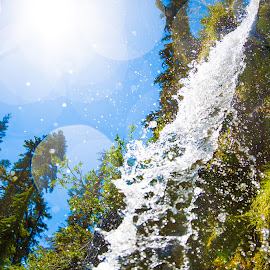 Cold Water by James Tesmer - Nature Up Close Water ( water, national park, nature, waterfall, lens flare )