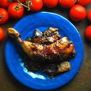 Slow Roasted Chicken Legs with Sun Dried Tomatoes