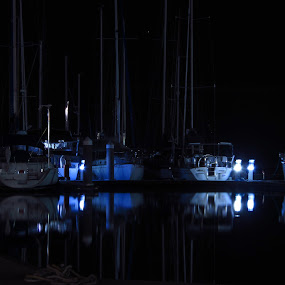 Still mooring by Mark Luyt - Transportation Boats ( nighttime, harbour, yachts, reflections, peaceful )
