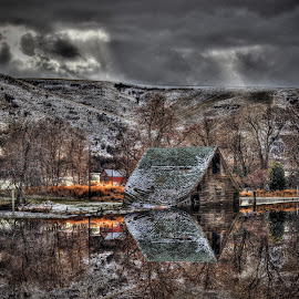 Reflected Barn by Eric Demattos - Buildings & Architecture Decaying & Abandoned ( barn, eric demattos, reflected, snow, storm )