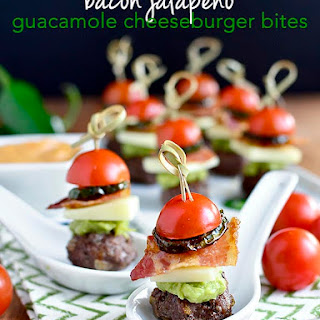 Bacon Jalapeno Guacamole Cheeseburger Bites with Chipotle Mayo