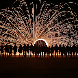Group of Photographers by Salman Ahmed - Abstract Fire & Fireworks ( abstract, creative, steel wool, silhouette, group, people, fire )