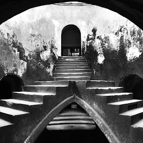 Vintage by Jenni Ertanto - Buildings & Architecture Architectural Detail ( old, building, stairs, bw, architecture )