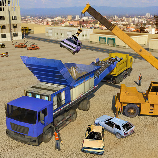 Old Car Crusher Crane Operator & Dump Truck Driver (game)