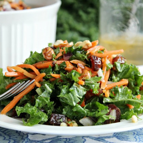 Kale and Hazelnut Winter Salad with Warm Sweet Dressing