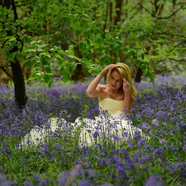 Bride in the Bluebells by Jim Edginton - Wedding Bride ( wedding, ceremony, marriage, bride, bluebells )