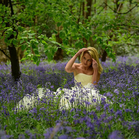 Bride in the Bluebells by Bearded Egg - Wedding Bride ( wedding, ceremony, marriage, bride, bluebells )