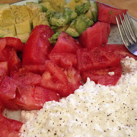 LUNCH by Sandy Stevens Krassinger - Food & Drink Plated Food ( tomato, colorful, cottage cheese, avacodo, plated food, lunch,  )