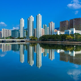 Mirroring by Anthony Lau - City,  Street & Park  Skylines ( hong kong, skyline, building, landscape, river, city )