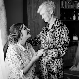 With grandma by Klaudia Klu - Wedding Getting Ready ( emotions, bride, grandmother )