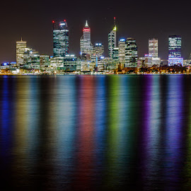 Perth night shot by Shayne Sim - City,  Street & Park  Night ( night photography, perth by night, 80d, long exposure, cityscape, first batch, city skyline, nightscape )