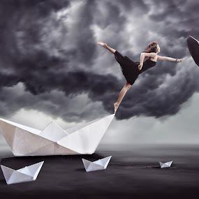 Surreal by Danny Tan - Digital Art People ( digitalart, umbrella, surreal, black, paperboat )