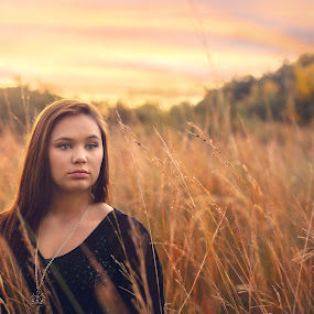 Field Of Dreams by Shaun Poston - People Portraits of Women ( shaun poston, teen, fine art, hour, women, young, portrait, photography, field, portraiture, sunset, woman, teenager, processing, lady, tall grass, golden, cross processed )