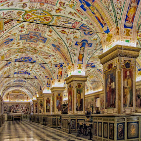 Inside the Vatican Museum Library by Daniel Schwabe - Buildings & Architecture Other Interior ( frescoes, library, architecture, vatican, painting, italy )