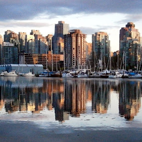 Reflections of Vancouver by Andrea Clayton - Novices Only Landscapes ( water, boats, harbour, reflections, seascape, cityscape, vancouver )