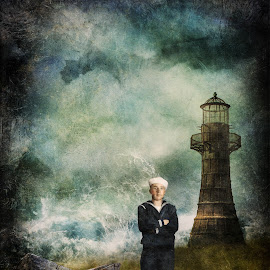 Rusty Navy by Tina Bell Vance - Illustration Sci Fi & Fantasy ( shore, digital collage, blue, digital manipulation, digital art, boats, toys, lighthouse, ocean, portrait, man, sailor )