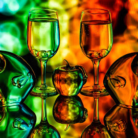 Something Fishy by Lisa Hendrix - Artistic Objects Glass ( inversion, reflection, patterns, colorful, colors, green, fish, art, bubbles, object, spheres, yellow, red, color, blue, apple, artistic, glass, wine glasses )