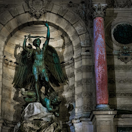 St Michael by George Nichols - Buildings & Architecture Statues & Monuments ( paris, michael, france, monument, saint, religious )