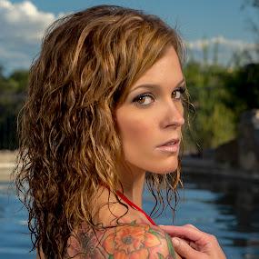 Capture by Kens Yeaglin - People Body Art/Tattoos ( swimwear model, angelamarie, pool, tattoos, red bikini,  )