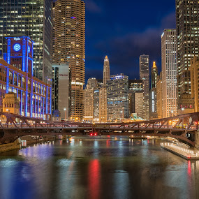 Chicago Riverwalk by Amy Ann - City,  Street & Park  Night ( lights, night, bridge, river, city,  )