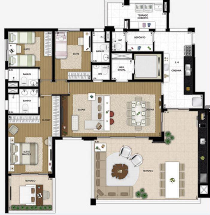 Planta Opção com Living Ampliado - 181 m²