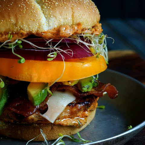 Mile High Ginger Cilantro Chicken Burger with Ancho Chile Mayo