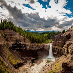 Ram River Falls 2 by Drew May - Landscapes Mountains & Hills ( clouds, canada, alberta, landscape images, waterfall, trees, ram river falls, summer, drew may photography, landscape, eastern slopes )