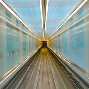 Camera Induced Warp Speed by Aaron Krosner - Transportation Trains ( airport, dulles international, underground terminal transfer, idc, train, tunnel )