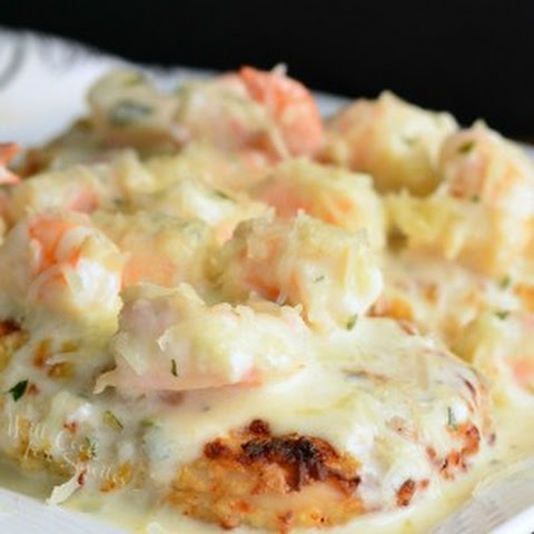 Oven Fried Chicken with Creamy Fontina Shrimp Sauce