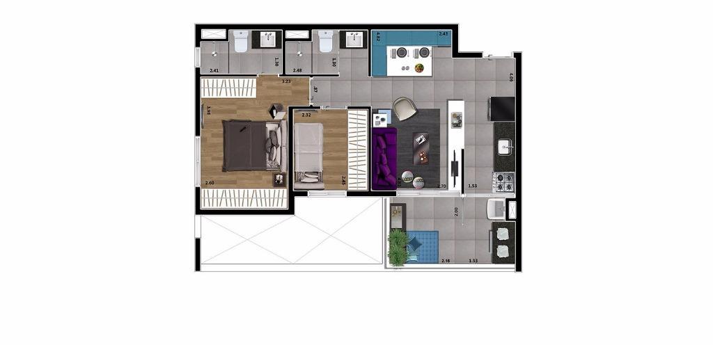Planta Tipo 2 Dorms 60 m²